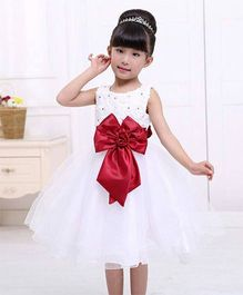 Wonderland Party Wear Tutu Dress With Shiny Bow Belt - White