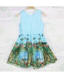 Wonderland Butterfly & Flower Print Dress - Blue
