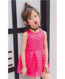 Wonderland Exquisite Design Flared Dress - Hot Pink