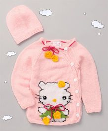 The Original Knit Cartoon Sweater & Cap Set - Baby Pink