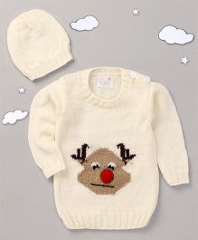The Original Knit Reindeer Sweater Set With Cap - Offwhite