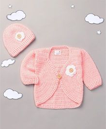 The Original Knit Crochet Shrug With Cap - Baby Pink