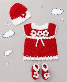 The Original Knit Crochet Flowers Dress With Cap & Booties - Red & White