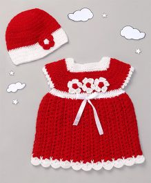 The Original Knit Crochet Flowers Dress With Cap - Red & White