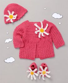 The Original Knit Crochet Sweater Set With Cap & Socks - Pink