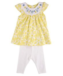 Mothercare Cap Sleeves Top And Leggings Set Floral Print- Yellow White
