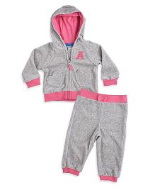 Mothercare Full Sleeves Hooded Sweatjacket And Bottoms Bow Applique - Grey Pink