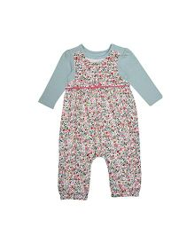 Mothercare Dungaree and Onesie Set Floral Print - Green Multi Color