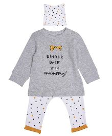 Mothercare Long Sleeve Printed Top And Leggings With Cap Set - Grey White