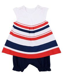 Mothercare Cap Sleeves Romper Dress Stripes Print - Multicolor