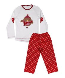 Mothercare Full Sleeves Nightwear Printed -  White Red