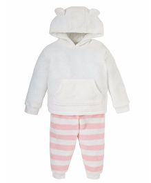 Mothercare Hooded T-Shirt And Bottom Winterwear Set - Pink