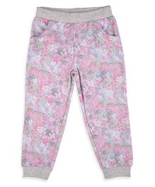 Mothercare Track Pant With Floral Print - Grey