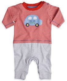 Mothercare Full Sleeves Stripe Romper Car Patch - Red Grey