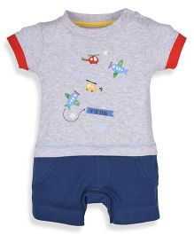 Mothercare Half Sleeves Romper Helicopter Print - Grey