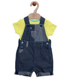 Mothercare Dungaree Style Romper With Onesie - Blue Green