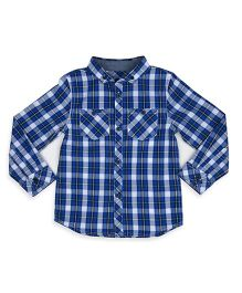 Mothercare Full Sleeves Checks Shirt - Dark Blue