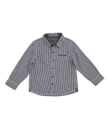 Mothercare Half Sleeves Checks Shirt - Black Grey