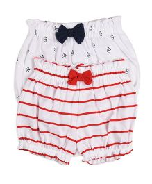 Mothercare Bloomers Pack of 2 - White Red Navy Blue