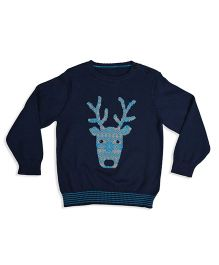 Mothercare Long Sleeves Sweater Reindeer Face Design - Navy