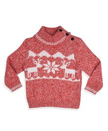 Mothercare Long Sleeves Sweater Nordic Design - Red White