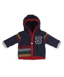 Mothercare Long Sleeves Knit Hooded Cardigan - Navy Red
