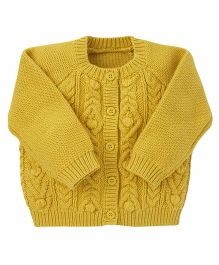 Mothercare Full Sleeves Knit Design Cardigan - Mustard Yellow