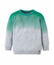 Mothercare Full Sleeves Dual Color Sweater - Grey & Green