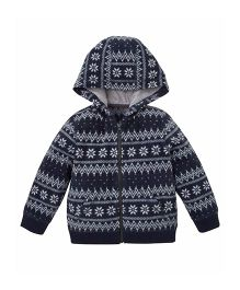 Mothercare Full Sleeves Hooded Zippered Jacket - Navy Blue