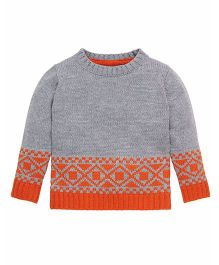 Mothercare Full Sleeves Dual Color Sweater Diamond Design - Grey Orange