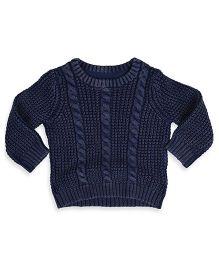 Mothercare Long Sleeve Cable Knit Sweater - Navy Blue