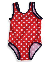 Mothercare Sleeveless V Cut Swimsuit Polka Dot Print - Red White & Navy