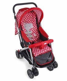 Mee Mee Stroller Cum Pram With Polka Dot Print - Red