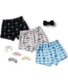 Plan B Set Of 3 Boys Dapper Theme Boxer Shorts - Grey Black & Blue