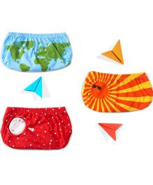 Plan B Set Of 3 We Got The Whole World On Our Bum Theme Boys Underwear - Yellow Red & Sky Blue