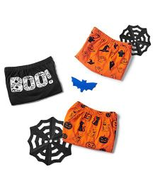 Plan B Set Of 3 Trick Or Treat Theme Boys Boxer Shorts - Orange & Black