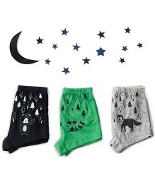 Plan B Set Of 3 Growls And Howls Theme Boys Boxer Shorts - Grey Black & Green