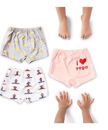 Plan B Set Of 3 Lil Yogi Theme Girls Boxer Shorts - Grey White & Peach