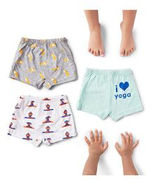 Plan B Set Of 3 Lil Yogi Theme Boys Boxer Shorts - Grey White & Light Blue
