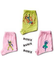 Plan B Set Of 3 Here Comes The Hot Stepper Theme Girls Boxer Shorts - Baby Pink & Lime