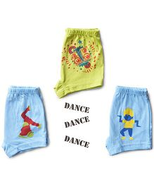 Plan B Set Of 3 Here Comes The Hot Stepper Theme Boys Boxer Shorts - Sky Blue & Lime