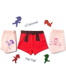 Plan B Set Of 3 Lil Samurai Theme Girls Boxer Shorts - Peach & Red