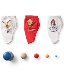 Plan B Set Of 3 When I Grow Up Theme Boys Underwear - Red & White