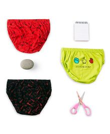 Plan B Set Of 3 Rock Paper Scissors Theme Boys Underwear - Red Black & Lime