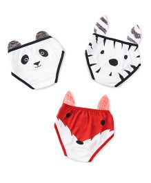 Plan B Set Of 3 The Junglees Theme Girls Underwear - White