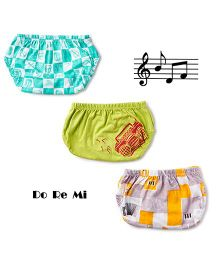Plan B Set Of 3 Sound Check Theme Boys Underwear - White & Lime