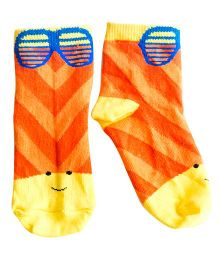 Plan B Pair Of Summer Time Theme Socks - Orange & Yellow