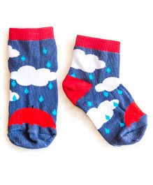 Plan B Pair Of Rainy Day Theme Socks - Blue & Red