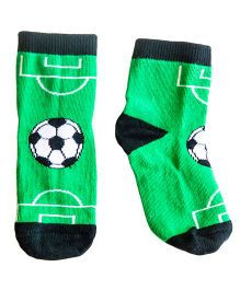 Plan B Pair Of Football Theme Socks - Green