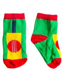 Plan B Pair Of Cricket Theme Socks - Green & Red